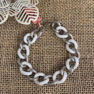 "White Ceramic and Stainless Link Bracelet 7.5"""